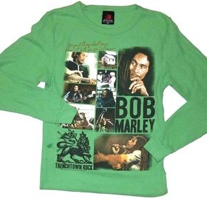 Bob Marley Zion  Green Thermal Long Sleeve Shirt